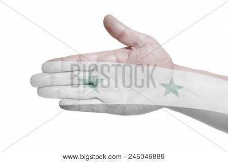 Man Hand Sign With Flag Of Syria Isolated On White Background