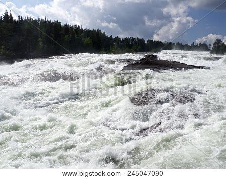Biggest Waterfall Storforsen In The North Of Sweden