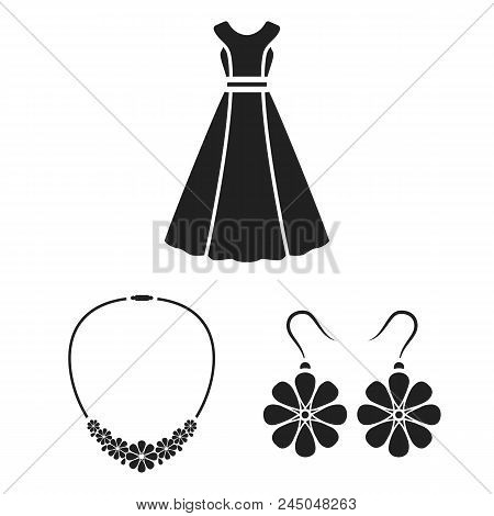 Clothes And Accessories Black Icons In Set Collection For Design. Shoes And Decoration Vector Symbol