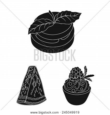 Vegetarian Dish Black Icons In Set Collection For Design.vegetable And Milk Food Vector Symbol Stock