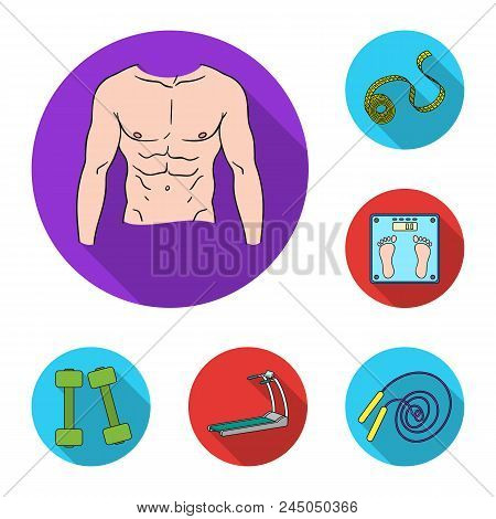 Fitness And Attributes Flat Icons In Set Collection For Design. Fitness Equipment Vector Symbol Stoc