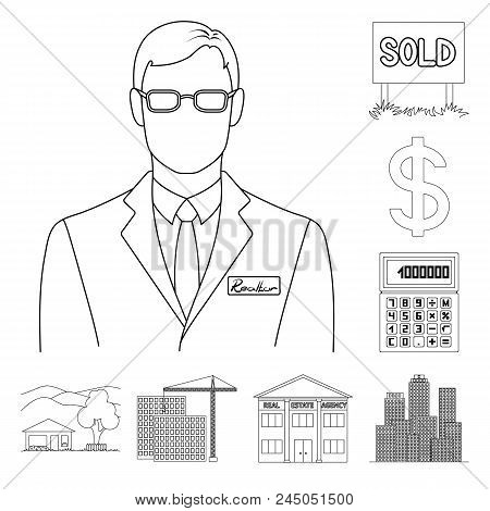 Realtor, Agency Outline Icons In Set Collection For Design. Buying And Selling Real Estate Vector Sy