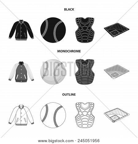 Playground, Jacket, Ball, Protective Vest. Baseball Set Collection Icons In Black, Monochrome, Outli