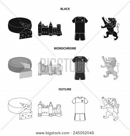Cheese, Lion And Other Symbols Of The Country.belgium Set Collection Icons In Black, Monochrome, Out