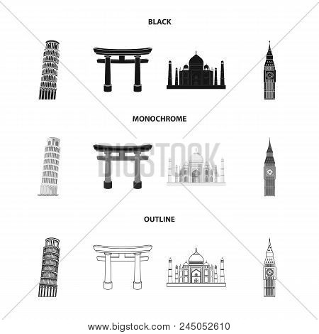 Sights Of Different Countries Black, Monochrome, Outline Icons In Set Collection For Design. Famous