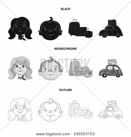 Camping, Woman, Boy, Bag .family Holiday Set Collection Icons In Black, Monochrome, Outline Style Ve