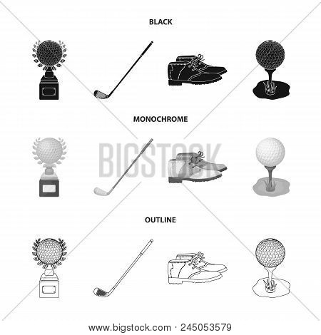 Cup, Golf Club, Ball On The Stand, Golfer Shoes.golf Club Set Collection Icons In Black, Monochrome,