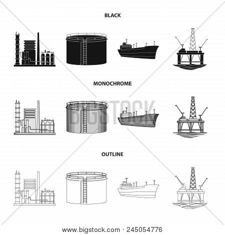 Oil Refinery, Tank, Tanker, Tower. Oil Set Collection Icons In Black, Monochrome, Outline Style Vect