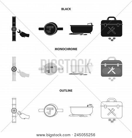 Water Meter, Bath And Other Equipment.plumbing Set Collection Icons In Black, Monochrome, Outline St