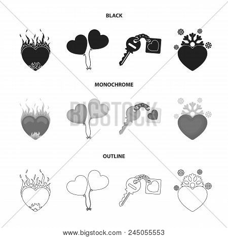 Hot Heart, Balloons, A Key With A Charm, A Cold Heart. Romantic Set Collection Icons In Black, Monoc