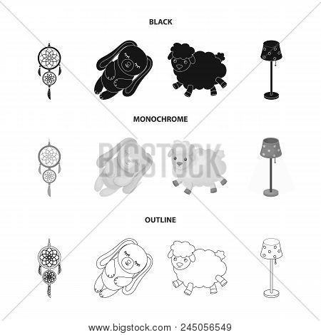 Dream Catcher, Soft Toy Sheep And Rabbit, Floor Lamp. Rest And Sleep Set Collection Icons In Black,