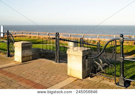 Ornate Railings featuring Sea Creatures on the regenerated promenade of the B1287 road in Seaham poster