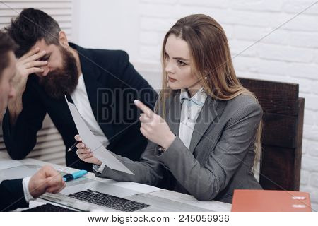 Business Colleagues At Meeting, Office Background. Office Atmosphere Concept. Lady Manager Tries To