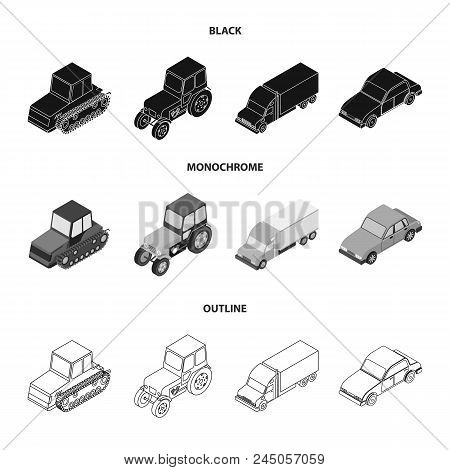 Tractor, Caterpillar Tractor, Truck, Car. Transport Set Collection Icons In Black, Monochrome, Outli