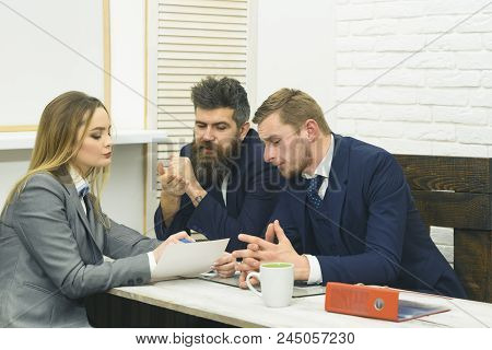 Business Negotiations, Discuss Conditions Of Deal. Business Consulting Concept. Business Partners Or