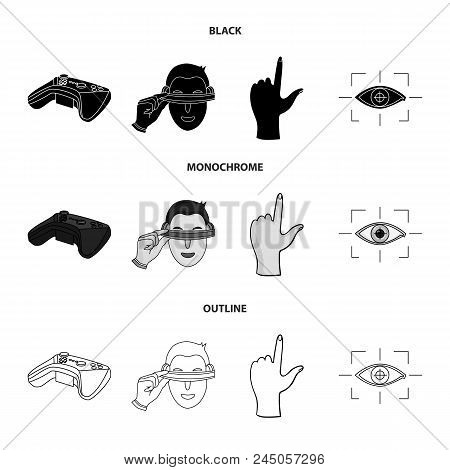 Virtual, Reality, Helmet, Computer, Technology, .virtual Reality Set Collection Icons In Black, Mono