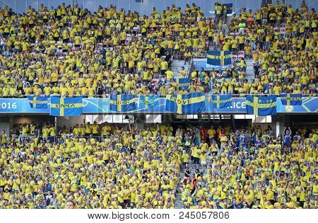 Nice, France - June 22, 2016: Tribunes Of Allianz Riviera Stade De Nice With Swedish Fans During The