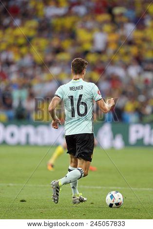 Nice, France - June 22, 2016: Thomas Meunier Of Belgium In Action During The Uefa Euro 2016 Game Aga