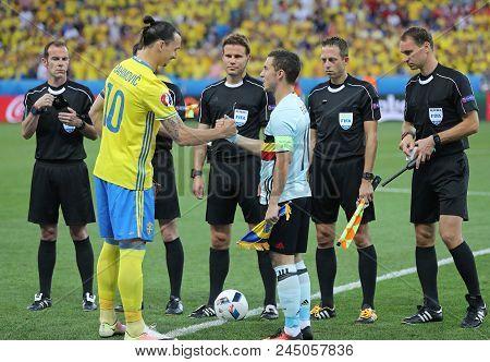Nice, France - June 22, 2016: Captains Zlatan Ibrahimovic Of Sweden (l) And Eden Hazard Of Belgium C