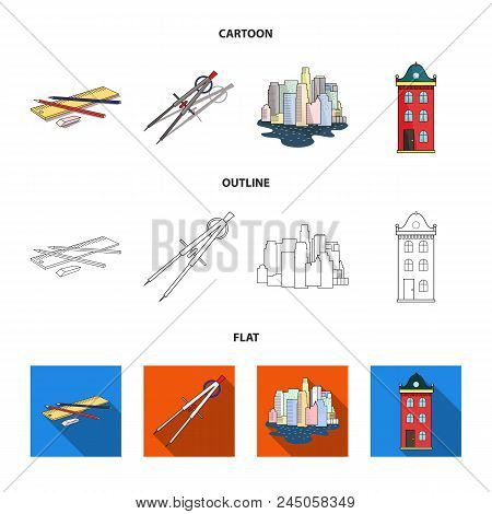 Drawing Accessories, Metropolis, House Model. Architecture Set Collection Icons In Cartoon, Outline,
