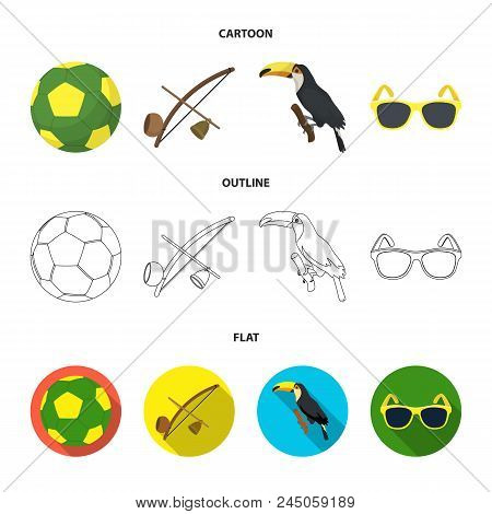 Brazil, Country, Ball, Football . Brazil Country Set Collection Icons In Cartoon, Outline, Flat Styl
