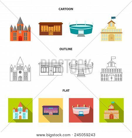 House Of Government, Stadium, Cafe, Church.building Set Collection Icons In Cartoon, Outline, Flat S