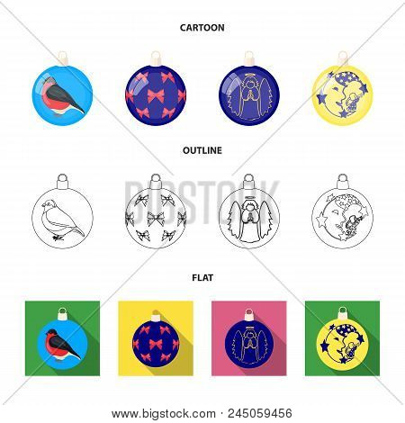 New Year's Toys Cartoon,outline,flat Icons In Set Collection For Design.christmas Balls For A Treeve