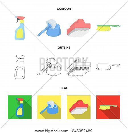 Cleaning And Maid Cartoon, Outline, Flat Icons In Set Collection For Design. Equipment For Cleaning
