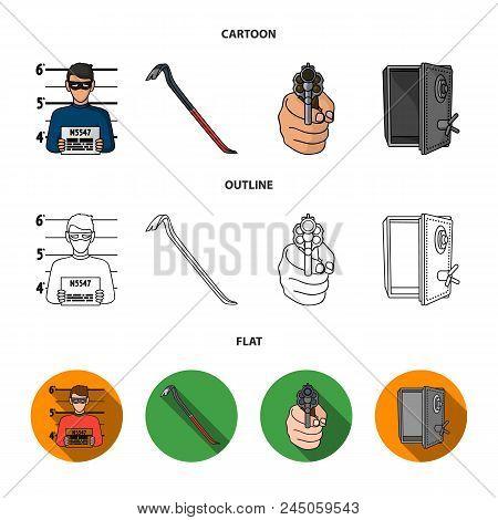 Photo Of Criminal, Scrap, Open Safe, Directional Gun.crime Set Collection Icons In Cartoon, Outline,