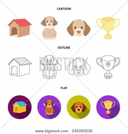 Dog House, Protective Collar, Dog Muzzle, Cup. Dog Set Collection Icons In Cartoon, Outline, Flat St