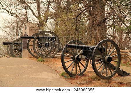 Gettysburg, Pennsylvania - April 15: Gettysburg National Military Park Is Known For The Countless Ci