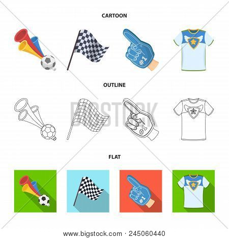 Pipe, Uniform And Other Attributes Of The Fans.fans Set Collection Icons In Cartoon, Outline, Flat S