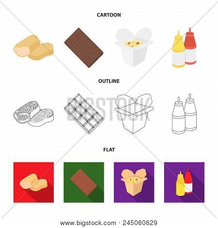 Chocolate, Noodles, Nuggets, Sauce.fast Food Set Collection Icons In Cartoon, Outline, Flat Style Ve