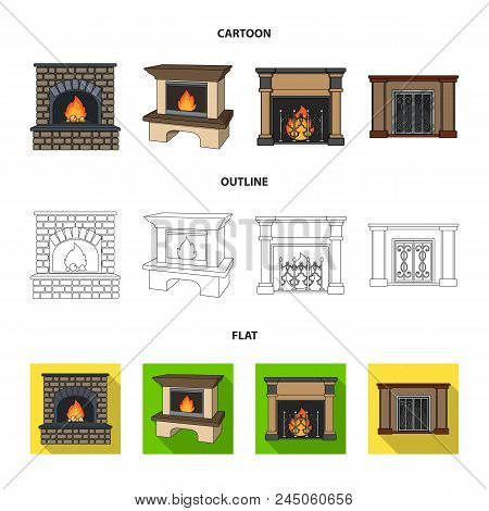 Fire, Warmth And Comfort.fireplace Set Collection Icons In Cartoon, Outline, Flat Style Vector Symbo