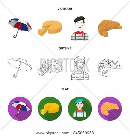 Umbrella, Traditional, Cheese, Mime .france Country Set Collection Icons In Cartoon, Outline, Flat S