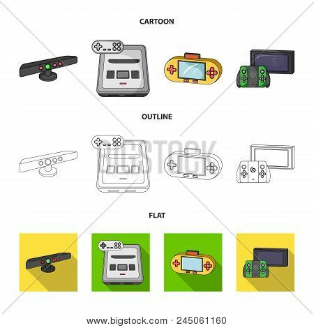 Game And Tv Set-top Box Cartoon, Outline, Flat Icons In Set Collection For Design.game Gadgets Vecto