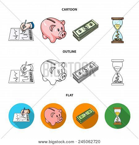 Bank, Business Schedule, Bundle Of Notes, Time Money. Money And Finance Set Collection Icons In Cart