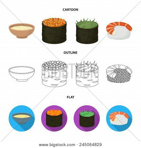 Bowl Of Soup, Caviar, Shrimp With Rice. Sushi Set Collection Icons In Cartoon, Outline, Flat Style V