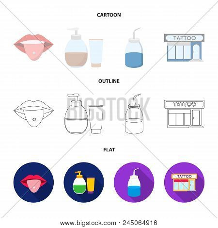Piercing In Tongue, Gel, Sallon. Tattoo Set Collection Icons In Cartoon, Outline, Flat Style Vector