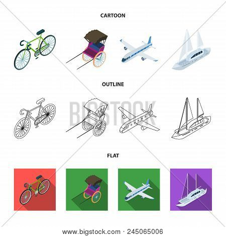 Bicycle, Rickshaw, Plane, Yacht.transport Set Collection Icons In Cartoon, Outline, Flat Style Vecto