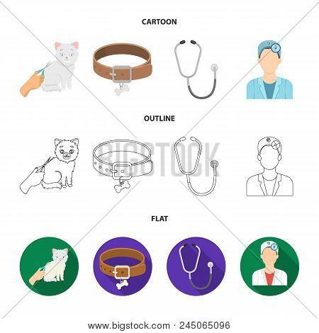 Collar, Bone, Cat, Haircut .vet Clinic Set Collection Icons In Cartoon, Outline, Flat Style Vector S