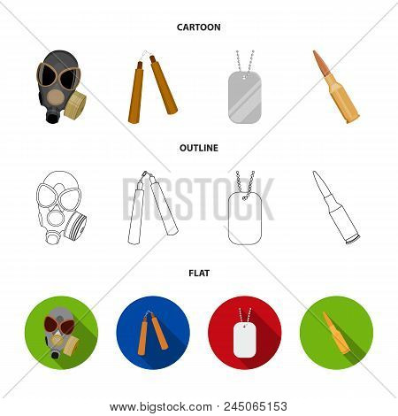 Gas Mask, Nunchak, Ammunition, Soldier's Token. Weapons Set Collection Icons In Cartoon,outline,flat