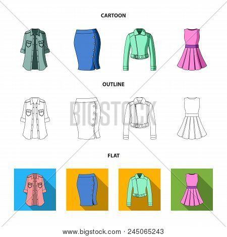Women's Clothing Cartoon,outline,flat Icons In Set Collection For Design.clothing Varieties And Acce