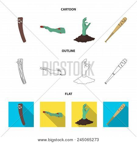 Zombies And Attributes Cartoon, Outline, Flat Icons In Set Collection For Design. Dead Man Vector Sy