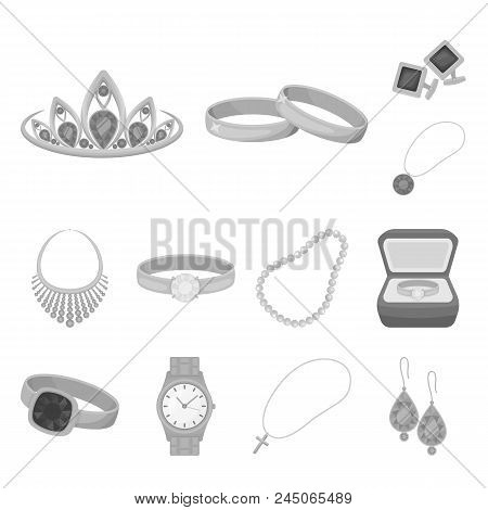 Jewelry And Accessories Monochrome Icons In Set Collection For Design.decoration Vector Symbol Stock