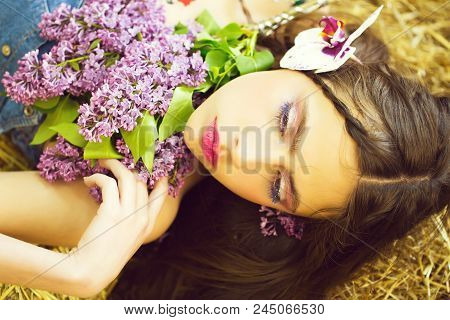 Countryside. Spring Girl Or Woman, With Adorable Face, Rosy Lips, Stylish Makeup, Blue Eyelashes, Ma