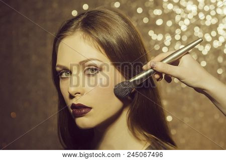 Visage, Cosmetics, Make Up. Pretty Girl Or Cute Woman, Adorable Fashionable Model With Long Hair Get