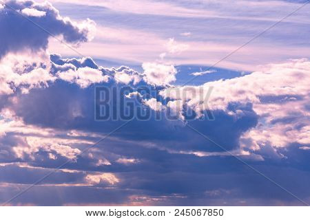 Beautiful Blue Sky With Clouds Background. Sky Clouds. Sky With Clouds Weather Nature Cloud Blue