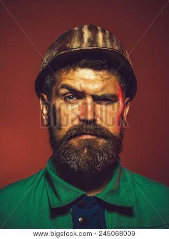 Portrait Architect Builder On Construction Site. Portrait Of Mechanical Worker. Portrait Of Handsome