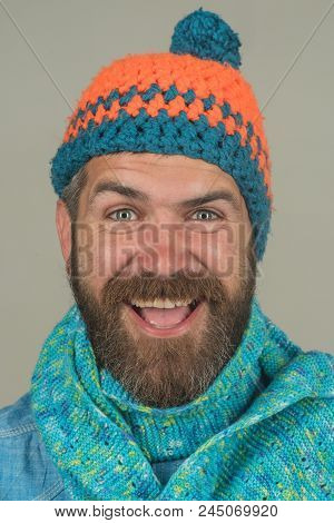Fashion Portrait Of Handsome Man In Trendy Casual Hat And Scarf. Men Autumn/winter Fashion. Casual L